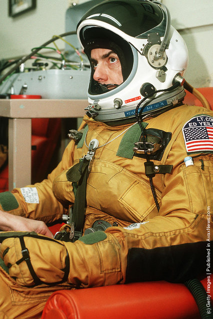 Lt. Col. Raymond E. Yeilding, pilot, sits in his flight suit prior to his recordbreaking, coast-to-coast flight in an SR-71 aircraft