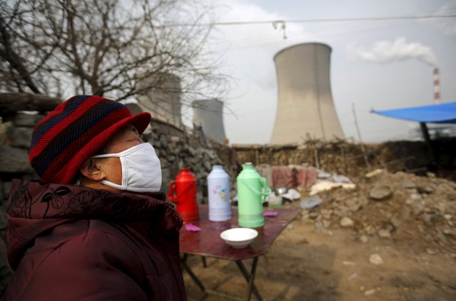 A woman wearing a mask reacts at her garden which  locates next to chimneys of coal-fired power plant in Shijiazhuang, Hebei province, China, January 28, 2015. Beijing introduced tougher regulations this year to combat pollution, keen to overhaul China's unwanted image of smog-choked cities, fouled waterways and heavy-metal tainted soil. (Photo by Kim Kyung-Hoon/Reuters)