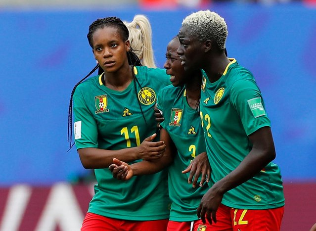 Cameroon's forward Ajara Nchout (C) reacts after her goal was disallowed during the France 2019 Women's World Cup round of sixteen football match between England and Cameroon, on June 23, 2019, at the Hainaut stadium in Valenciennes, northern France. (Photo by Phil Noble/Reuters)