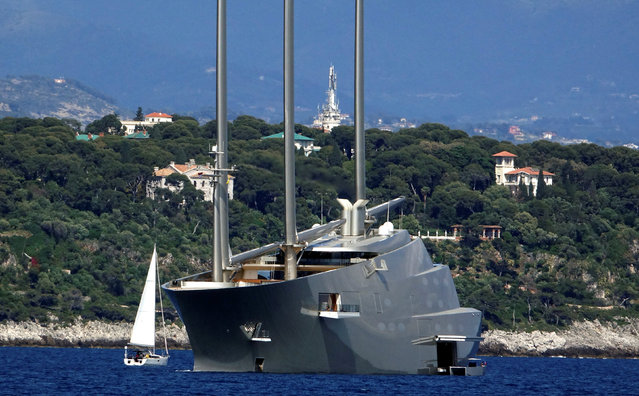 """The 142.81 metre sail-assisted motor yacht """"Sailing Yacht A"""", owned by Russian tycoon Andrey Melnichenko, is seen in front of the Monaco harbour, May 4, 2017. (Photo by Stefano Rellandini/Reuters)"""