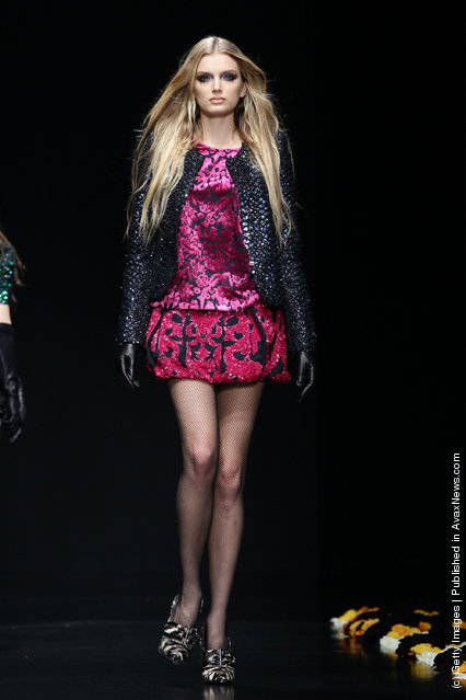 A model walks the runway at the Roberto Cavalli Autumn/Winter 2012/2013 fashion show as part of Milan Womenswear Fashion Week