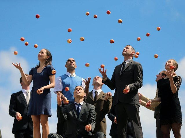 Gandini Juggling company preview the show called Smashed during a photocall for the Dublin Dance festival at the Pavilion Theatre, in Dun Laoghaire, on May 21, 2014. (Photo by Niall Carson/PA Wire)