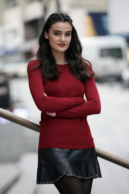 In this Thursday, February 26, 2015 file photo, former Miss Turkey Merve Buyuksarac poses for a photo as she speaks to The Associated Press in Istanbul, Turkey. A court on Tuesday, May 31, 2016 convicted a former Miss Turkey of insulting President Recep Tayyip Erdogan through social media postings and gave her a 14-month suspended sentence, amid deepening concerns that the country is swaying toward an increasingly authoritarian form of rule. (Photo by Emrah Gurel/AP Photo)