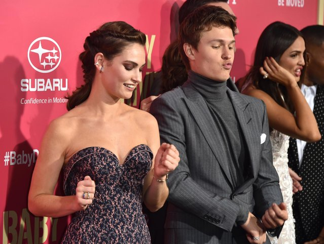 """Actress Lily James and actor Ansel Elgort arrive at the Premiere of Sony Pictures' """"Baby Driver"""" at Ace Hotel on June 14, 2017 in Los Angeles, California. (Photo by Frazer Harrison/Getty Images)"""