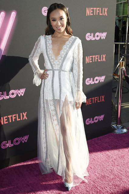 "Ellen Wong attends the LA Premiere of ""Glow"" at ArcLight Hollywood on Wednesday, June 21, 2017, in Los Angeles. (Photo by Richard Shotwell/Invision/AP Photo)"