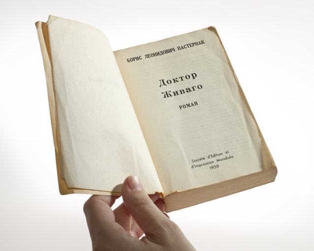 Copy of the original Russian-language edition of Doctor Zhivago, covertly published by the CIA. The front cover and the binding identify the book in Russian; the back of the book states that it was printed in France. (Photo by Central Intelligence Agency)