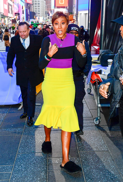 "Robin Roberts is seen outside  to ABC's ""Good Morning America"" in laker color  on January 28, 2020 in New York City. (Photo by Raymond Hall/GC Images)"