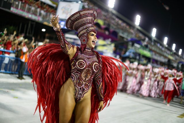 Drum queen Raissa Machado of Viradouro samba school performs during the first night of the Carnival parade at the Sambadrome in Rio de Janeiro, Brazil on February 23, 2020. (Photo by Pilar Olivares/Reuters)