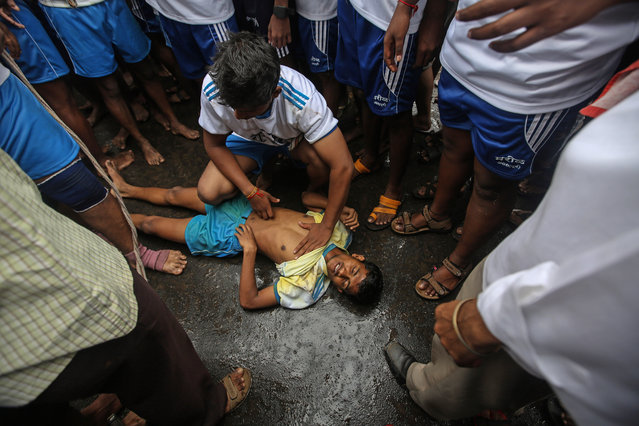 An Indian devotee lays unconscious after falling from a human pyramid on occasion of the Janmashtami Festival in Mumbai, India, 18 August 2014. (Photo by Divyakant Solanki/EPA)