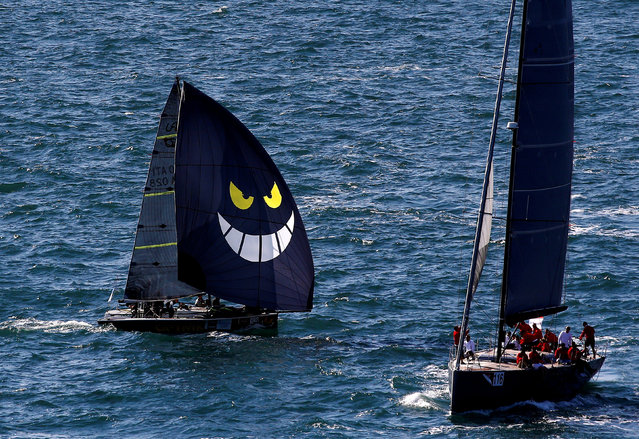 Sailing boats gather during the Barcolana regatta in front of Trieste harbour, Italy, October 8, 2017. (Photo by Stefano Rellandini/Reuters)