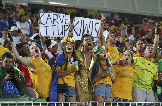 2016 Rio Olympics, Rugby, Women's Gold Medal Match Australia vs New Zealand, Deodoro Stadium, Rio de Janeiro, Brazil on August 8 2016. Australia fans cheer from the stands during the medal ceremony. (Photo by Alessandro Bianchi/Reuters)