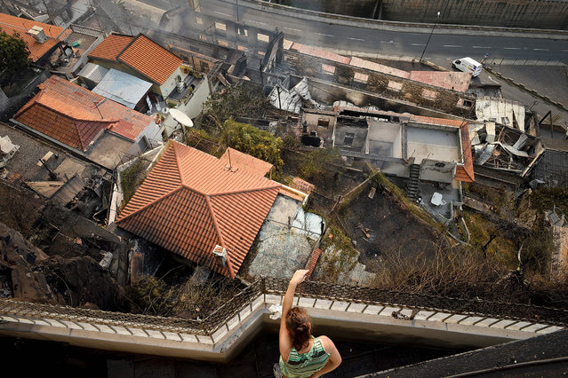 A woman looks over a balcony at burned houses in Campo da Barca, Funchal, Madeira island on August 10, 2016. Three people were killed and 1,000 forced to flee their homes overnight as forest fires engulfed the Portuguese island of Madeira, authorities said, as flames menaced the capital Funchal. (Photo by Joana Sousa/AFP Photo)