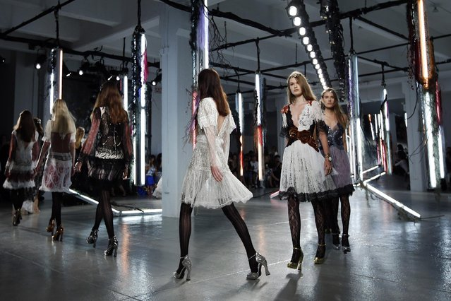 The Rodarte Spring 2016 collection is modeled during Fashion Week, Tuesday, September 15, 2015, in New York. (Photo by Jason DeCrow/AP Photo)