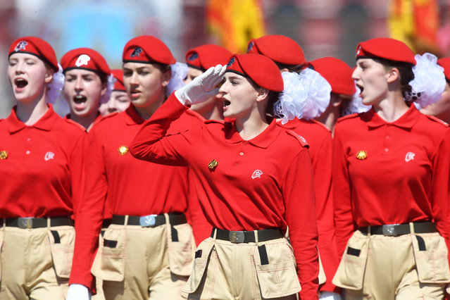 Young Army Cadets march during the Victory Day military parade in Red Square marking the 75th anniversary of the victory in World War II, on June 24, 2020 in Moscow, Russia. The 75th-anniversary marks the end of the Great Patriotic War when the Nazi's capitulated to the then Soviet Union. (Photo by Iliya Pitalev/Host Photo Agency via Getty Images)
