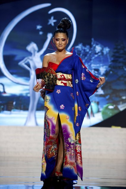 Miss Japan Ayako Hara on stage at the 2012 Miss Universe National Costume Show on Friday, December 14, 2012 at PH Live in Las Vegas, Nevada. The 89 Miss Universe Contestants will compete for the Diamond Nexus Crown on December 19, 2012. (Photo by AP Photo/Miss Universe Organization L.P., LLLP)