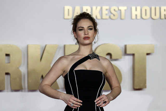 Actor Lily James arrives at the UK premiere of Darkest Hour in London, Britain December 11, 2017. (Photo by Simon Dawson/Reuters)