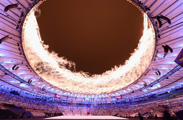 Fireworks explode during the Opening Ceremony of the Rio 2016 Paralympic Games at Maracana Stadium on September 7, 2016 in Rio de Janeiro, Brazil. (Photo by Buda Mendes/Getty Images)