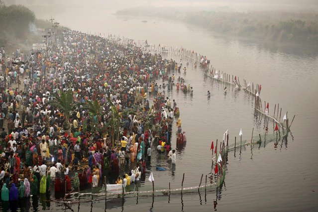 Hindu devotees worship the Sun god Surya by the waters of the river Yamuna during the Hindu religious festival of Chatt Puja in New Delhi October 30, 2014. (Photo by Anindito Mukherjee/Reuters)