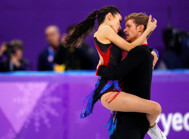 USA' s Madison Chock and USA' s Evan Bates compete in the ice dance short dance of the figure skating event during the Pyeongchang 2018 Winter Olympic Games at the Gangneung Ice Arena in Gangneung on February 19, 2018. (Photo by Phil Noble/Reuters)