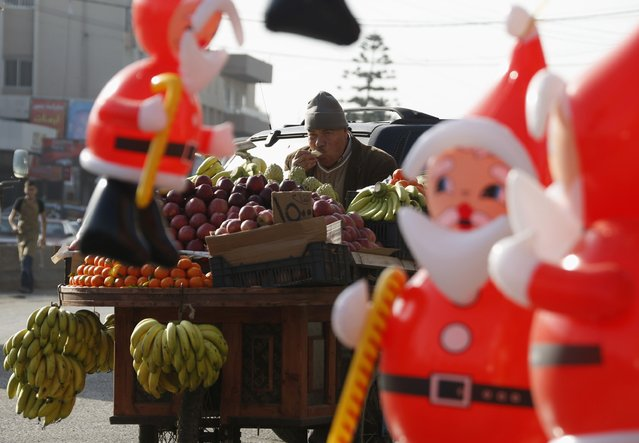A fruit vendor eats a banana near inflatable Santa Claus toys in Nabatiyeh, in south Lebanon December 14, 2014. (Photo by Ali Hashisho/Reuters)