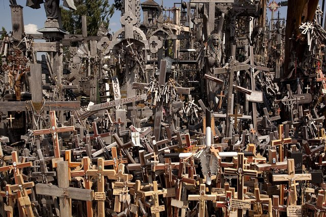 The Hill of Crosses is covered with about 200,000 religious symbols in all shapes and sizes, in wood and metal. (Photo by Richard Gardner/Rex USA)