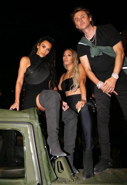 "(L-R) Kim Kardashian West, La La Anthony, and Jonathan Cheban attend the Nas ""Nasir"" Album Listening Session on June 14, 2018 in New York City. (Photo by Johnny Nunez/WireImage)"