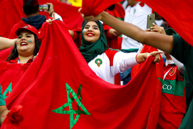 Morocco fans inside the stadium before the Russia 2018 World Cup Group B football match between Spain and Morocco at the Kaliningrad Stadium in Kaliningrad on June 25, 2018. (Photo by Fabrizio Bensch/Reuters)