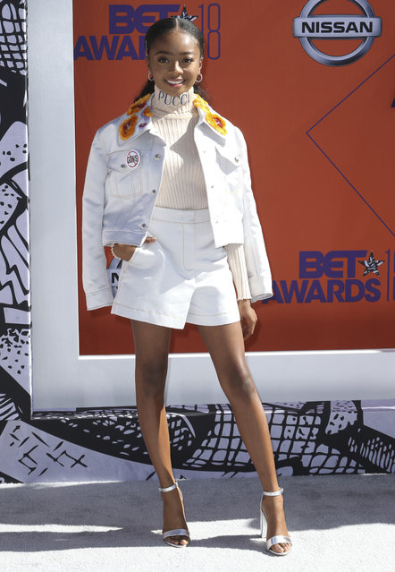 Skai Jackson arrives at the BET Awards at the Microsoft Theater on Sunday, June 24, 2018, in Los Angeles. (Photo by Willy Sanjuan/Invision/AP Photo)