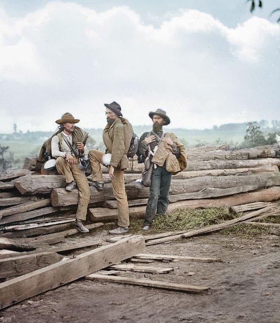 Three Confederate prisoners, Gettysburg, 1863.