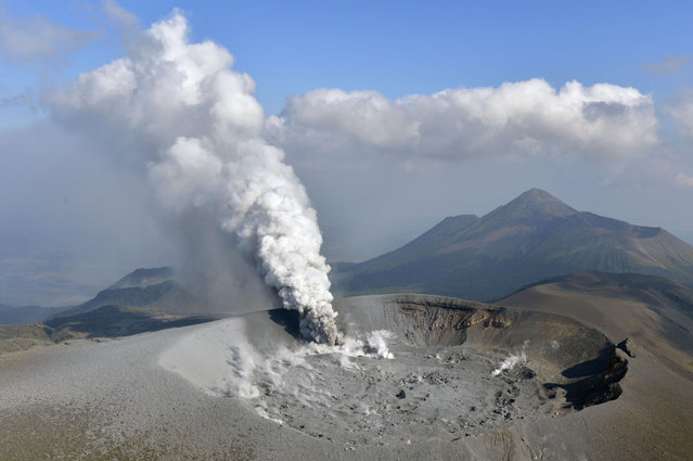 The Shinmoe volcano is seen after eruption, Kirishima, Kagoshima prefecture, Japan in this photo taken by Kyodo on October 11, 2017. (Photo by Reuters/Kyodo News)