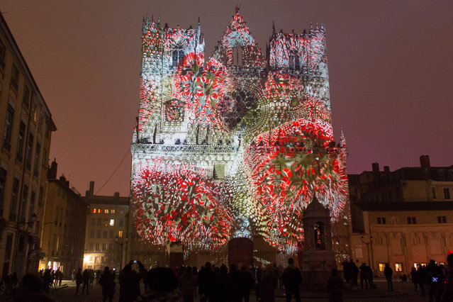 View of Evolutions installation by artist Yann Nguema at the Saint-Jean Cathedral during the rehearsal for the Festival of Lights (Fetes des Lumieres) in Central Lyon, France, late December 7, 2016. (Photo by Emmanuel Foudrot/Reuters)