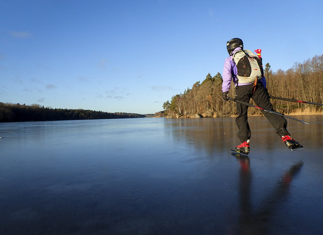 A woman tour skates on the frozen lake of Orlangen, south of Stockholm, Sweden, on December 23, 2016. Tour skating is recreational long distance ice skating on natural ice particularly popular in the Nordic countries. (Photo by Tobias Roestlund/AFP Photo/TT News Agency)