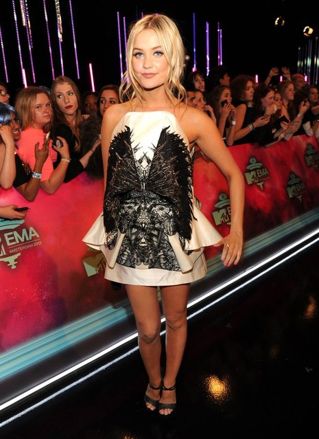 Laura Whitmore arrives for the MTV EMA's 2013. (Photo by Kevin Mazur/WireImage)