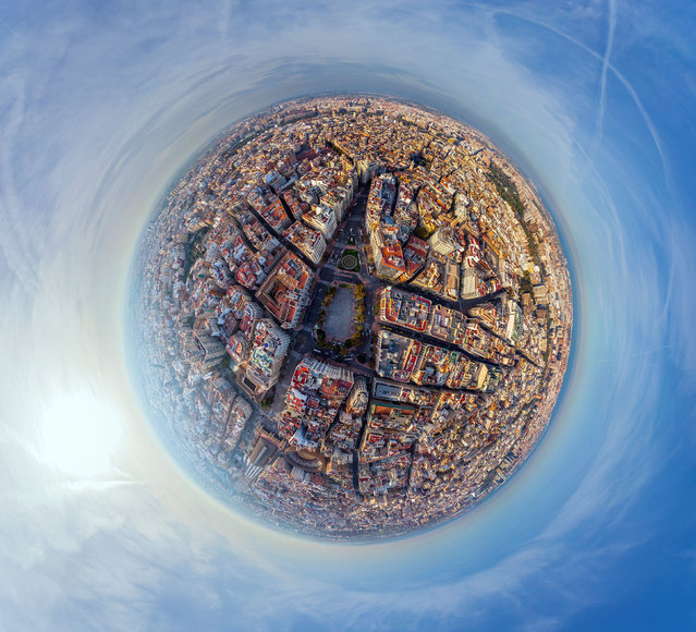 Plaza del Ayuntamiento, Valencia, Spain. (Photo by Airpano/Caters News)
