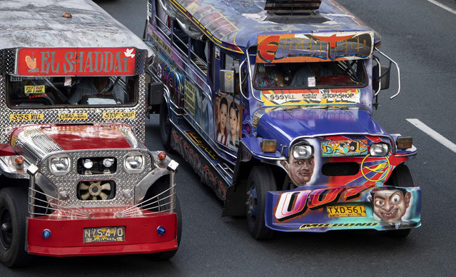 This picture taken on January 17, 2019 shows jeepneys during rush hour in Manila, Philippines. (Photo by Noel Celis/AFP Photo)