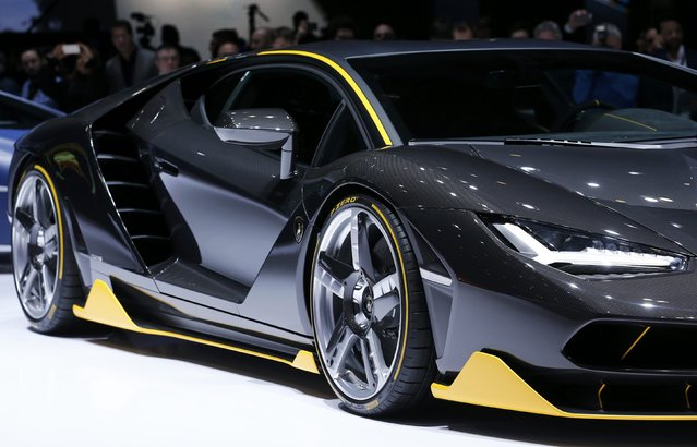 The new Lamborghini Centenario car is pictured at the 86th International Motor Show in Geneva, Switzerland, March 1, 2016. (Photo by Denis Balibouse/Reuters)