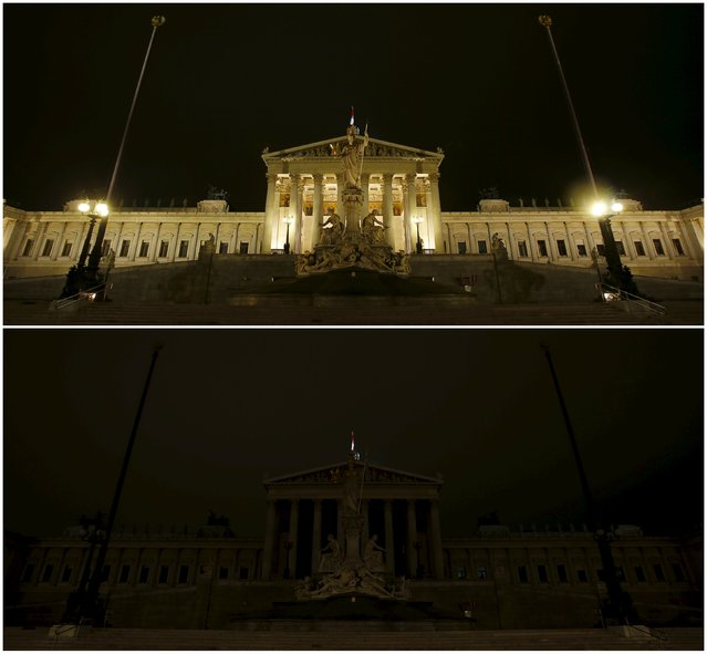 A combination photograph shows the Austrian Parliament before (top) and during Earth Hour in Vienna, Austria, March 19, 2016. (Photo by Heinz-Peter Bader/Reuters)