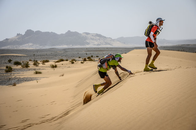 People compete in the stage 3 of the 34rd edition of the Marathon des Sables between Kourci Dial Zaid and Jebel El Mraer in the southern Moroccan Sahara desert, on April 9, 2019. The 34rd edition of the marathon is a live stage 250 kilometres race through a formidable landscape in one of the world's most inhospitable climates. (Photo by Jean-Philippe Ksiazek/AFP Photo)