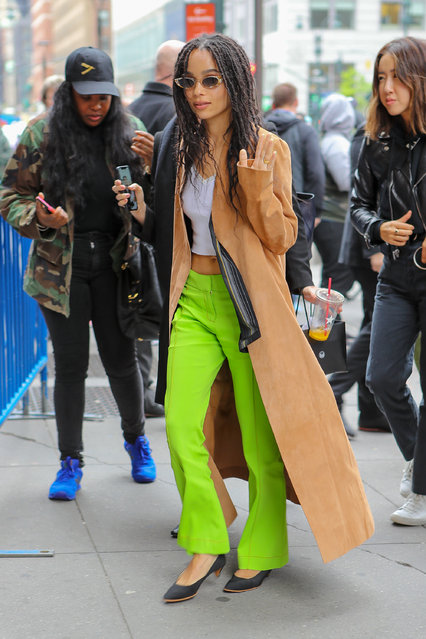 Zoe Kravitz seen arriving at the Hulu Upfronts in NYC on May 1, 2019. (Photo by Felipe Ramales/Splash News and Pictures)