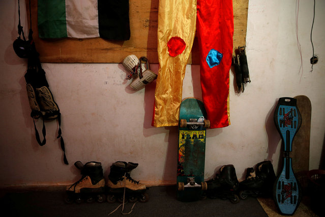 Skating tools used by Mustafa Sarhan, 19, a member of Gaza Skating Team, are seen inside his family house in Gaza City March 18, 2019. (Photo by Mohammed Salem/Reuters)