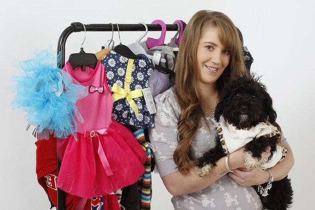 Emmie, 25, holding Jackadoodle Bambi, showing off the dogs' 15,000 wardrobe. (Photo by Helen Yates/Barcroft Media)