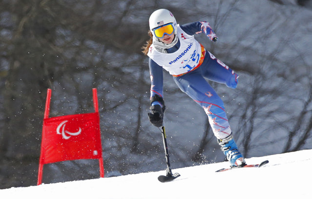 Stephanie Jallen of the United States races to win bronze medal in the alpine skiing, ladies, Super-G, standing event at the 2014 Winter Paralympics, Monday, March 10, 2014, in Krasnaya Polyana, Russia. (Photo by Dmitry Lovetsky/AP Photo)