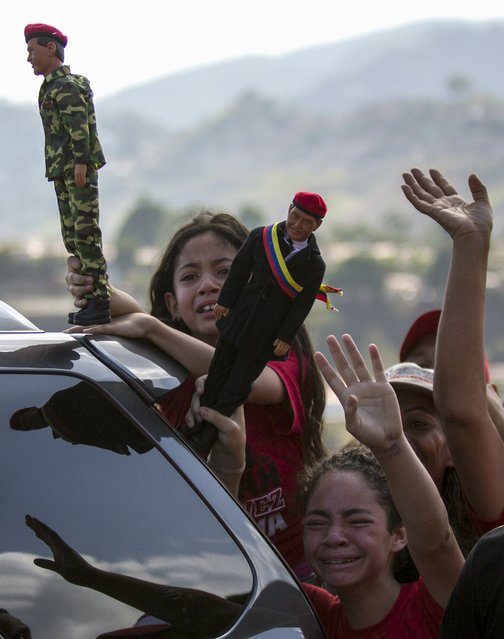 Supporters of Venezuela's President Nicolas Maduro holding dolls of Venezuela's late President Hugo Chavez wave during the opening ceremony of a new avenue and inauguration of a public transportation route with Yutong brand buses in Los Teques, Venezuela May 16, 2015. (Photo by Marco Bello/Reuters)
