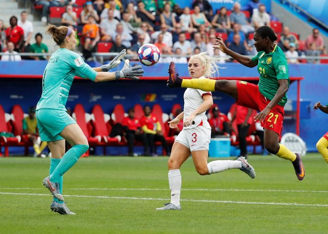 Alexandra Takounda of Cameroon in action during the 2019 FIFA Women's World Cup France Round Of 16 match between England and Cameroon at Stade du Hainaut on June 23, 2019 in Valenciennes, France. (Photo by Bernadett Szabo/Reuters)
