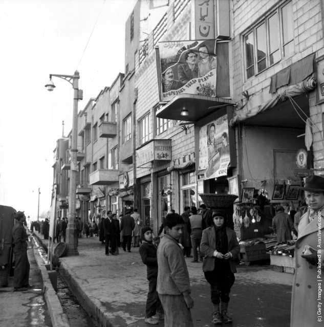 circa 1948:  A street scene in an Iranian city