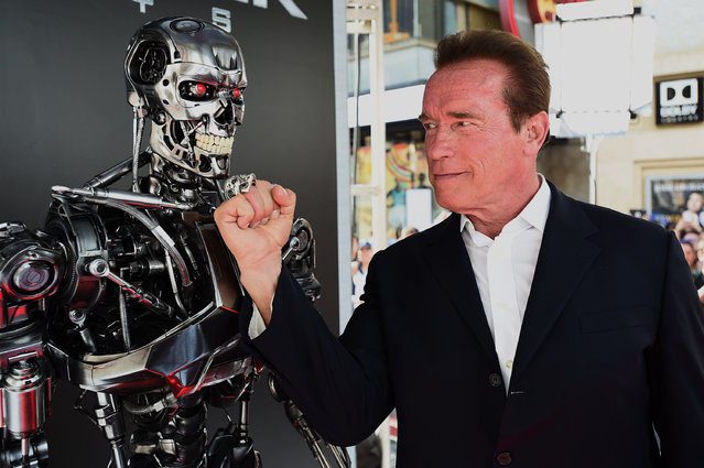"Arnold Schwarzenegger arrives at the LA Premiere of ""Terminator Genisys"" at Dolby Theater on Sunday, June 28, 2015 in Los Angeles. (Photo by Jordan Strauss/Invision/AP Photo)"
