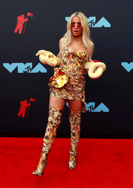 Tana Mongeau attends the 2019 MTV Video Music Awards at Prudential Center on August 26, 2019 in Newark, New Jersey. (Photo by Caitlin Ochs/Reuters)