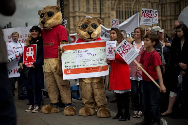 Campaigners against the construction of the proposed HS2 (High Speed 2) railway line, including two dressed up as otters, pose for photographs for the media with banners and an inflatable white elephant as they protest outside the Houses of Parliament in London, Monday, April 28, 2014. The protest was held Monday to coincide with a debate in Parliament on HS2. A white elephant is a term given to a scheme or object considered by some people to offer little value. (Photo by Matt Dunham/AP Photo)