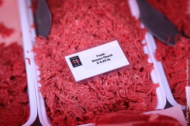 Fresh ground beef is displayed at Marina Meats
