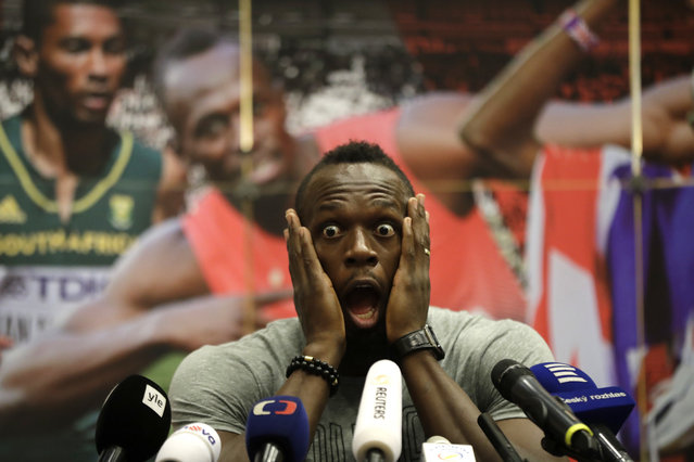 Jamaica's sprinter Usain Bolt grimaces during a press conference prior Golden Spike Athletic meeting in Ostrava, Czech Republic, Monday, June 26, 2017. Bolt will compete in the 100 meters at the Golden Spike on Wednesday, June 28, 2017. (Photo by Petr David Josek/AP Photo)